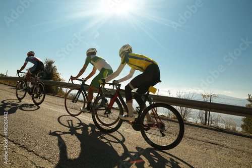 Canvas Print bikers uphill just before the end in Ligiades Ioannina race Greece