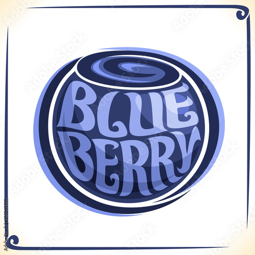 Vector logo for Blueberry, label with one whole berry for package of