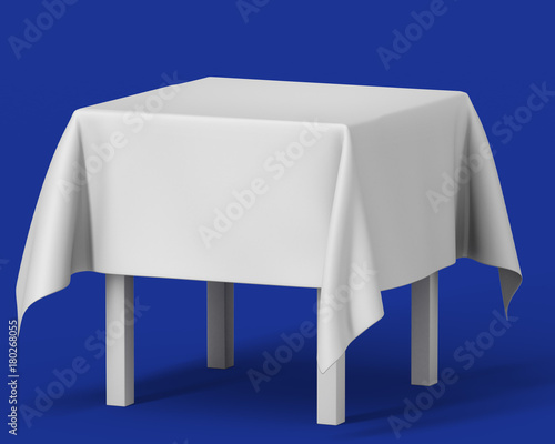 white square isolated table with long tablecloth set on blue