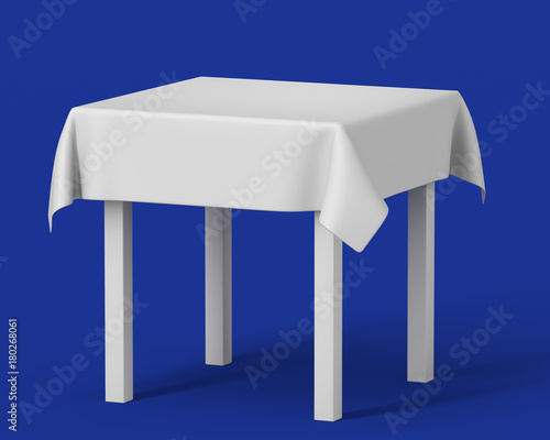 white square isolated table with short tablecloth set on blue