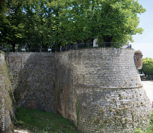 Wall Murals Cemetery Close up on castle Brescia Citadela, walls