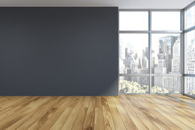 Empty Gray Room Interior, Window
