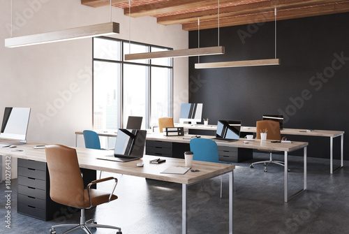 Obraz Black open space office corner - fototapety do salonu