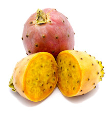 One Whole Pink And Sliced Yellow Opuntia Flesh With Seeds, Two Halves, Isolated On White Background.