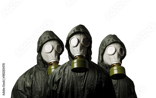 Three gas masks isolated on white background. Survival theme. Poster