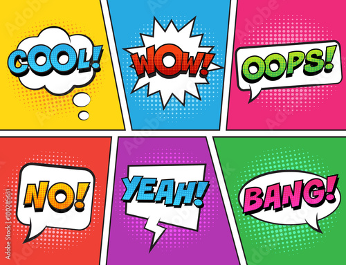 Poster Pop Art Retro comic speech bubbles set on colorful background. Expression text COOL, NO, WOW, YEAH, OOPS, BANG. Vector illustration, vintage design, pop art style.