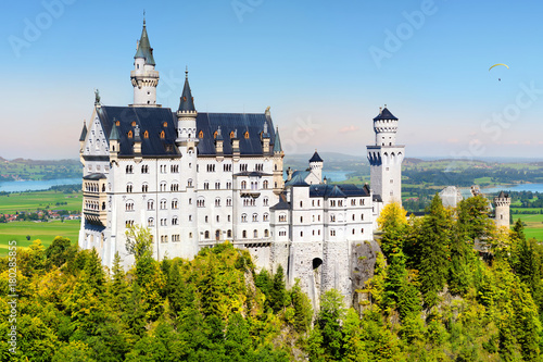 Famous Neuschwanstein Castle, fairy-tale palace on a rugged hill above the villa Poster