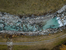 Aerial View Of River In Switzerland In Autumn Landscape