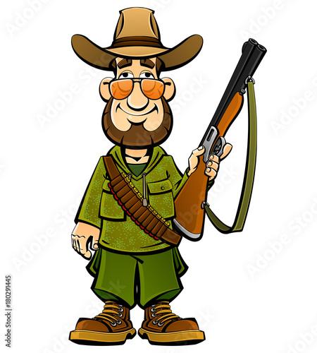 Türaufkleber Wilder Westen Cartoon hunter. From a large set of mascots.