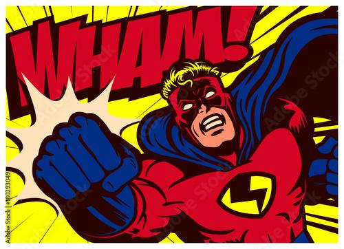 Pop art comics style superhero punching vector poster design wall decoration ill Canvas Print