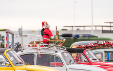 Santa Claus At The Exhibition Of Retro Cars , Agde, France. Copy Space For Text.