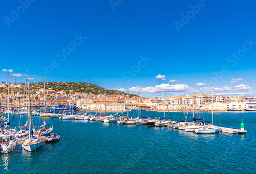 Poster de jardin Lieu d Europe View of the harbor with yachts, Sete, France. Copy space for text.