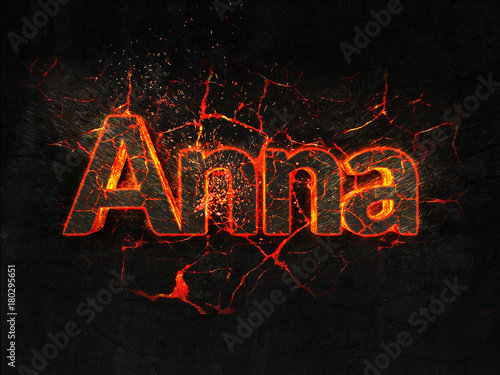Photo  Anna Fire text flame burning hot lava explosion background.