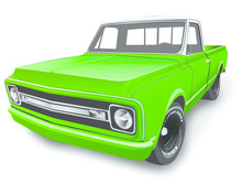 Vintage Pickup Truck Vector Il...