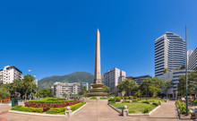 Panoramic View Of Altamira's Obelisk On A Sunny Day With Blue Skies In Francia Square (A.k.a. Plaza Altamira), In Venezuelan Capital City Caracas, In 2017.