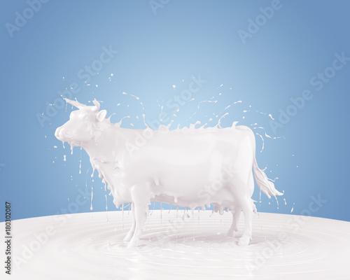 Splash of milk in form of Cow Shape Fototapeta