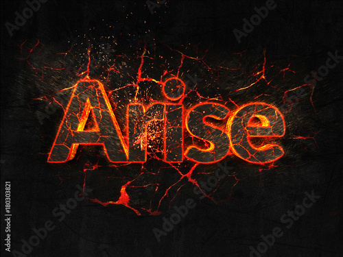 Photo Arise Fire text flame burning hot lava explosion background.