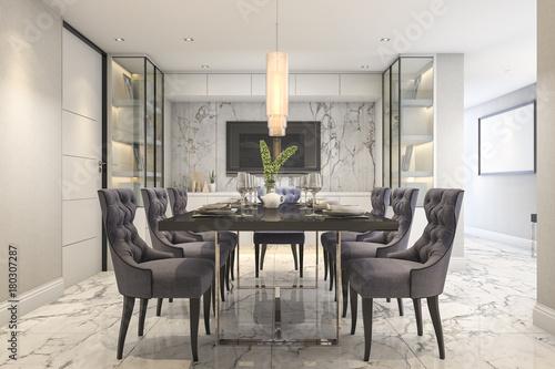 Fototapeta 3d rendering dining set in modern luxury dining room  obraz