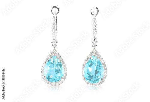 Photo Blue aquamarine turquoise diamond topaz drop pear shaped earrings