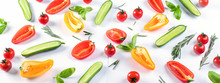 Fresh Food Pattern With Cucumbers,  Peppers,  Tomatoes And Herbs.