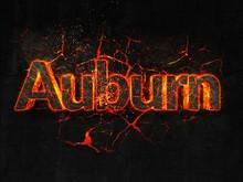 Auburn Fire Text Flame Burning...
