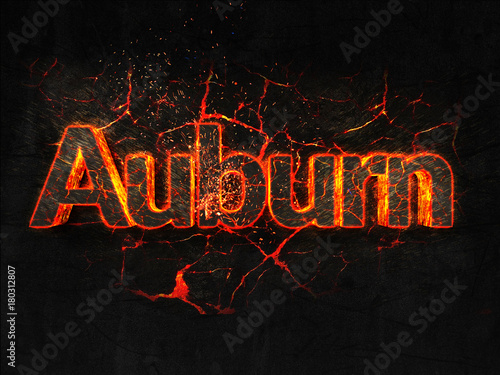 Photo Auburn Fire text flame burning hot lava explosion background.