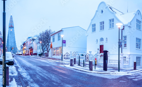 Old street in central Reykjavik at twilight, Iceland Tablou Canvas