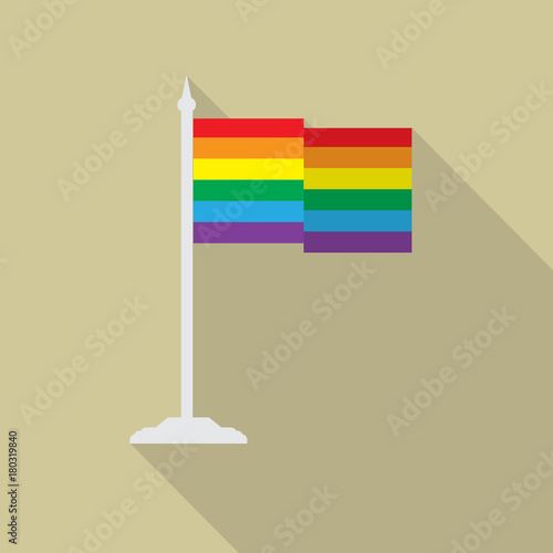 Photo  Gay pride LGBT flag with flagpole flat icon with long shadow