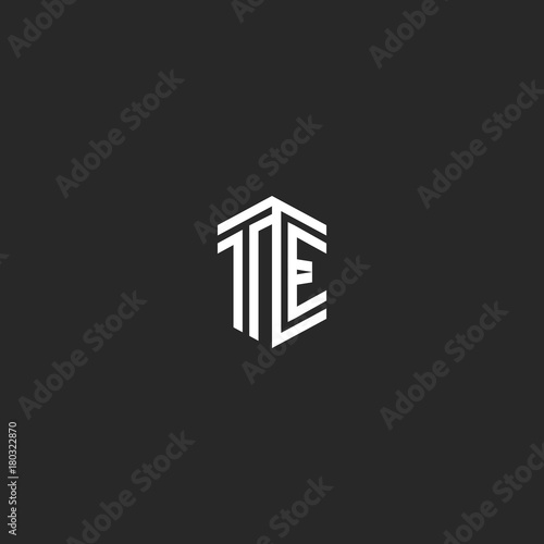 Letters TE logo monogram template two lines outline style Poster