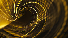 Abstract Golden Background Element On Black. Fractal Graphics. Three-dimensional Composition Of Glowing Lines And Mosaic Halftone Effects. Wide Format High Resolution Image.