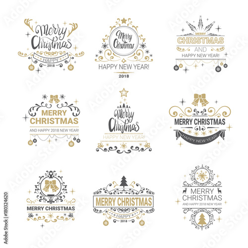 Fototapeta Set Of Golden Calligraphic Lettering Icons Christmas And New Year Logos Collection Isolated On White Background Vector Illustraion obraz na płótnie