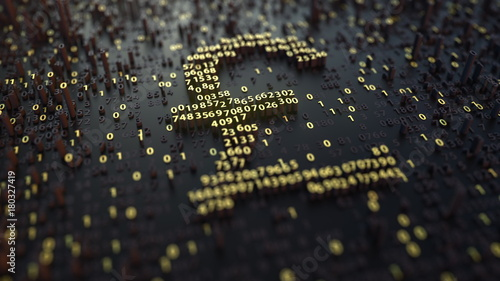 British pound GBP symbol made of golden numbers. 3D rendering