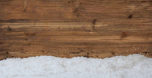 Snow On Wooden Background, Copy Space