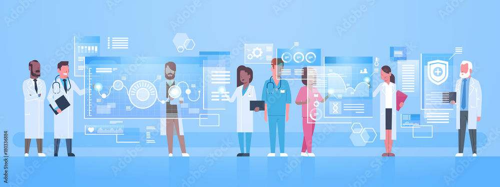 Fototapeta Diverse Doctors Group Use Virtual Computer Screen With Digital Buttons Innovation Technology Concept Modern Medical Treatment Flat Vector Illustration
