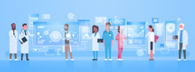 Diverse Doctors Group Use Virtual Computer Screen With Digital Buttons Innovation Technology Concept Modern Medical Treatment Flat Vector Illustration