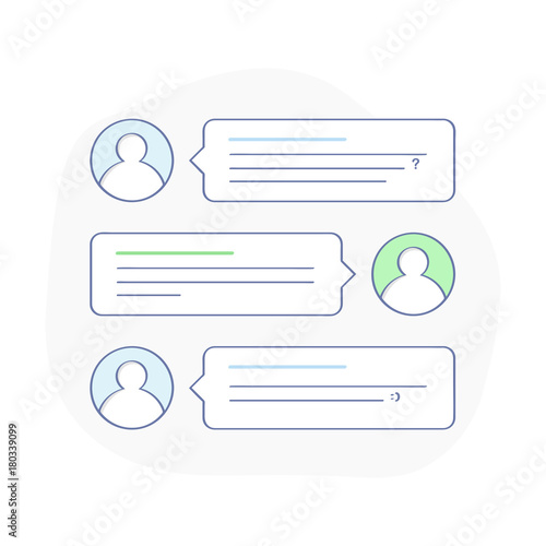 Chatting bubble speeches, illustration of dialog or phone messages. Social network, messenger, chatting, online talking and messaging concept. Flat outline vector design, premium quality trendy icon.