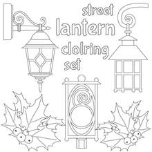 Street Lantern And Holly Berri...