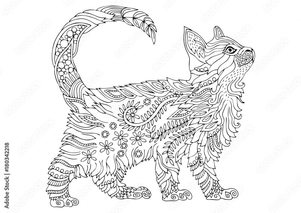 Ręcznie rysowane kota. Szkic do kolorowania antystresowego dla dorosłych w stylu zen-splot. Ilustracji wektorowych do kolorowania strony.