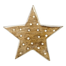Wooden Christmas Star Decoration On White