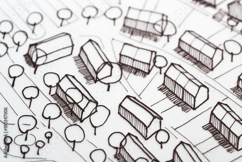 Obraz Hand Made Urban Three Dimensional Sketch - fototapety do salonu