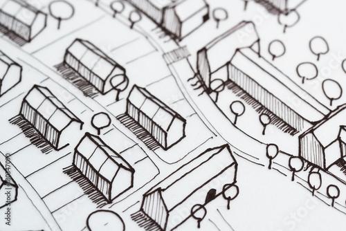Montage in der Fensternische Darknightsky Urban Sketch Planning Idea