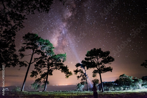 Poster Kaki Night landscape with colorful Milky Way