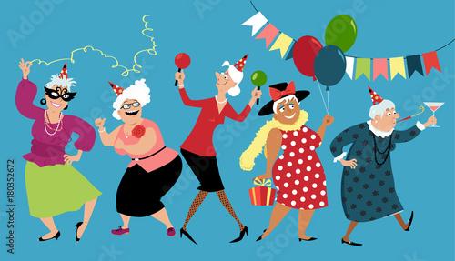 Fototapeta Mature ladies celebrate birthday or other holiday together, EPS 8 vector illustration obraz