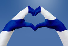 Hands Flag Of Finland, Shape A...