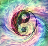 The merging of Yin Yang Energy - yin yang symbol on a rotating gaseous energy formation multicoloured background