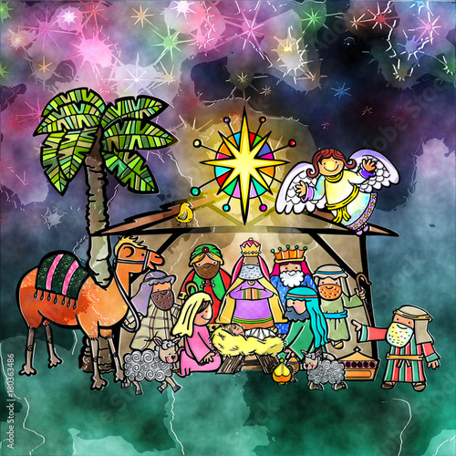 Poster Kaki Digitally Painted Christmas Nativity Watercolour Scene