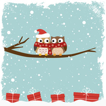 Winter Card With Two Owls And ...