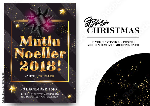 Mutlu Noeller 2018 Merry Christmas in Turkish  Stylish Black