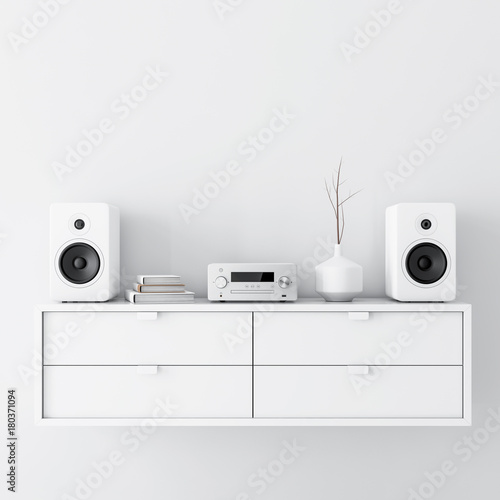 Fotografía Modern audio stereo system with white speakers on bureau in modern interior, 3d