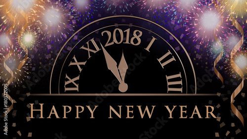 new years celebration background with colorful party fireworks clock with 2018 confetti ribbon